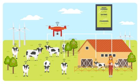 Woman farmer with tablet on a modern dairy farm. Smart farming mobile application. Robot shepherd. Internet of things in cattle grazing. Vector illustration.