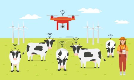 Woman farmer with tablet on a modern dairy farm. Smart farming. Robot shepherd.  Internet of things in cattle grazing. Vector illustration.