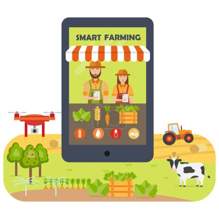 Smart farming mobile application flat infographics. Online marketing and shopping. Agricultural automation and robotics with modern technologies. Vector illustration