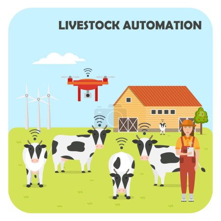 Woman farmer with tablet on a modern dairy farm. Smart farming. Robot shepherd. Internet of things in cattle grazing. Livestock automation. Vector illustration.