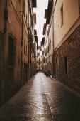 Vertical orange sun light in medieval street Italian city Bergamo.