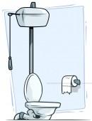 Cartoon retro toilet with toilet paper vector icon