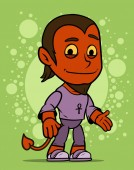 Cartoon cute standing smiling little red devil boy character in violet shirt with ankh On green background Vector icon