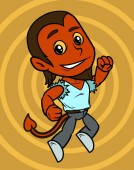 Cartoon cute jumping smiling little red devil boy character in blue shirt On yellow background Vector icon