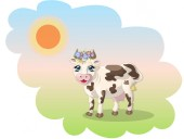 cow vector illustration with flowers on the head