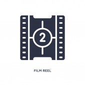 film reel countdown number 2 icon on white background Simple el