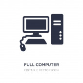 full computer icon on white background Simple element illustrat