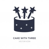 cake with three candles icon on white background Simple element
