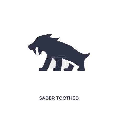 Illustration for Saber toothed tiger icon. Simple element illustration from stone age concept. saber toothed tiger editable symbol design on white background. Can be use for web and mobile. - Royalty Free Image