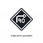 turn with advisory  speed isolated icon simple element illustration from traffic signs concept icons turn with advisory  speed editable logo sign symbol design on white background can be use for