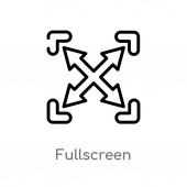 outline fullscreen vector icon isolated black simple line element illustration from interface concept editable vector stroke fullscreen icon on white background