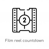 outline film reel countdown number 2 vector icon isolated black simple line element illustration from cinema concept editable vector stroke film reel countdown number 2 icon on white background