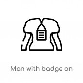 outline man with badge on his cheast vector icon isolated black simple line element illustration from signs concept editable vector stroke man with badge on his cheast icon on white background