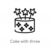 outline cake with three candles vector icon isolated black simple line element illustration from party concept editable vector stroke cake with three candles icon on white background