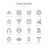set of 16 airport terminal concept vector line icons such as mar
