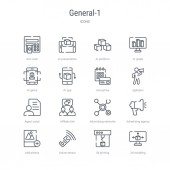 set of 16 general-1 concept vector line icons such as 3d modelin