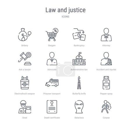 Illustration pour Ensemble de 16 icônes de ligne vectorielle de concept de loi et de justice telles que le cadavre, la cagoule, le certificat de décès, le swat, le spray au poivre, le couteau à papillon, le véhicule de transport de prisonniers, l'arme d'électrochoc. 64x64 mince - image libre de droit