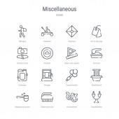 set of 16 miscellaneous concept vector line icons such as candle
