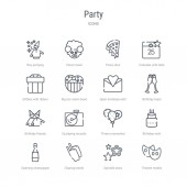set of 16 party concept vector line icons such as theatre masks