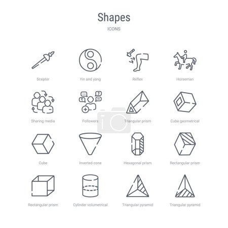 Set of 16 shapes concept vector line icons such as...