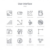 set of 16 user interface concept vector line icons such as data