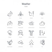 set of 16 weather concept vector line icons such as hot aurora