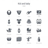 set of 16 vector icons such as baby milk bottle baby selling c