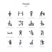set of 16 vector icons such as man singing elegant man girl wa