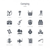 set of 16 vector icons such as fishing rod gasoline fishing s