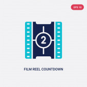 two color film reel countdown number 2 vector icon from cinema c