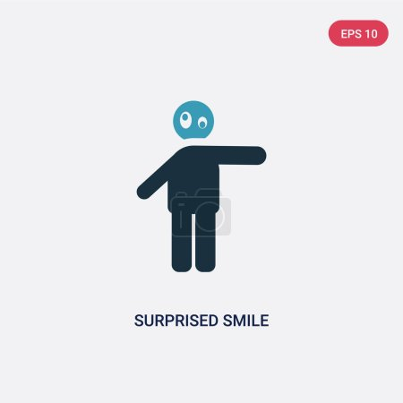 Illustration for Two color surprised smile vector icon from people concept. isolated blue surprised smile vector sign symbol can be use for web, mobile and logo. eps 10 - Royalty Free Image