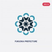 two color fukuoka prefecture vector icon from signs concept iso