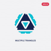 two color multiple triangles inside hexagon vector icon from geo