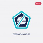 two color forbidden burguer vector icon from food concept isola