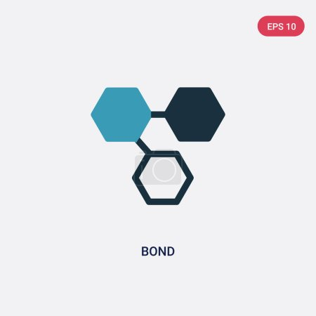 two color bond vector icon from science concept. isolated blue b