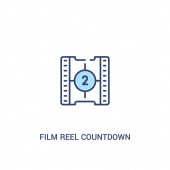 film reel countdown number 2 concept 2 colored icon simple line