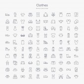 100 clothes outline icons set such as cotton polo shirt jewelry set cocktail dress leather derby shoe women socks chinos pants bow tie hooded jacket