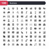 100 business icons set such as graphs strategic shopping bags customer relationship management director desk bank card tones logistic pie graphic
