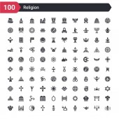 100 religion icons set such as adhan call arabian magic lamp arabic lamp assr buddhist monk christianity taoism monastery lamb