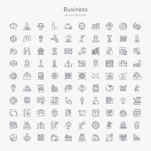 100 business outline icons set such as graphs strategic shopping bags customer relationship management director desk bank card tones logistic