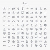 100 army outline icons set such as satellite grenade military rank compass toxic ambulance tent