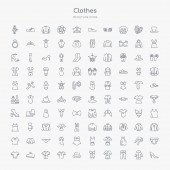 100 clothes outline icons set such as heels trouser pijama corset bowler jersey housecoat beret