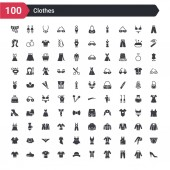 100 clothes icons set such as heels trouser pijama corset bowler jersey housecoat beret t shirt