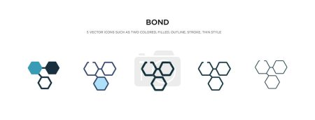 bond icon in different style vector illustration. two colored an