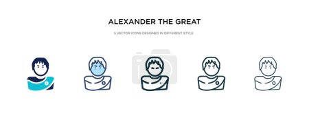alexander the great icon in different style vector illustration.