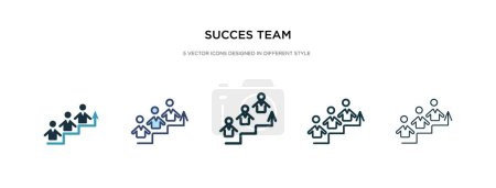 succes icône de l'équipe dans l'illustration vectorielle de style différent. deux col