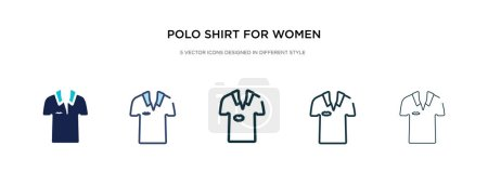 Polo shirt for women icon in different style vecto...
