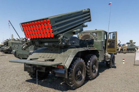 KADAMOVSKIY TRAINING GROUND, ROSTOV REGION, RUSSIA, 26 AUGUST 2018: International military technical forum ARMY-2018. Self-propelled coastal artillery system A-222C1 Bereg