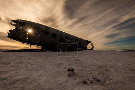 Photo for Solheimasandur the plane wreck view during winter snow - Royalty Free Image