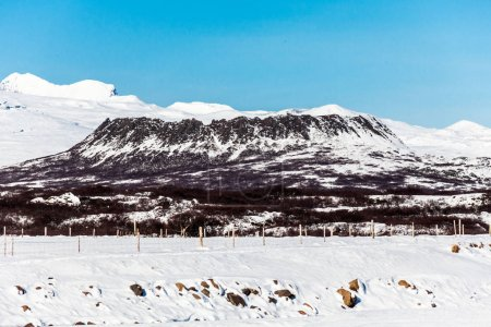 Photo for Borgarnes view during winter which is a town located on a peninsula at the shore of Borgarfjordur, Iceland - Royalty Free Image
